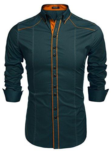 COOFANDY Camisa Hombre Verde Franela a Rayas Traje Formal Slim Fit Talla XL
