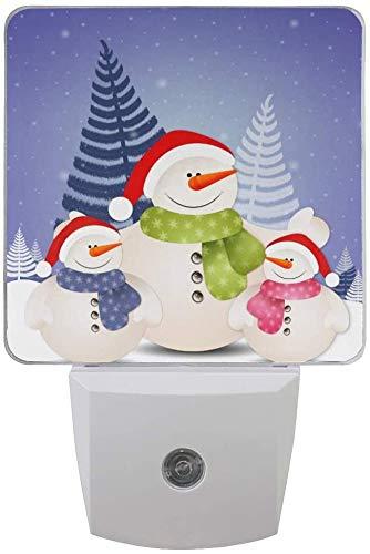 Paquete de 2 lámparas LED de luz nocturna divertida familia de muñeco de nieve con sensor de atardecer a amanecer para dormitorio, baño, pasillo, escaleras, 0,5 W, Reino Unido Jack