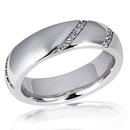 Goldmaid Damen-Ring Silber 925 34 klare Zirkonia Kanalfassung innen bombiert Größe 52