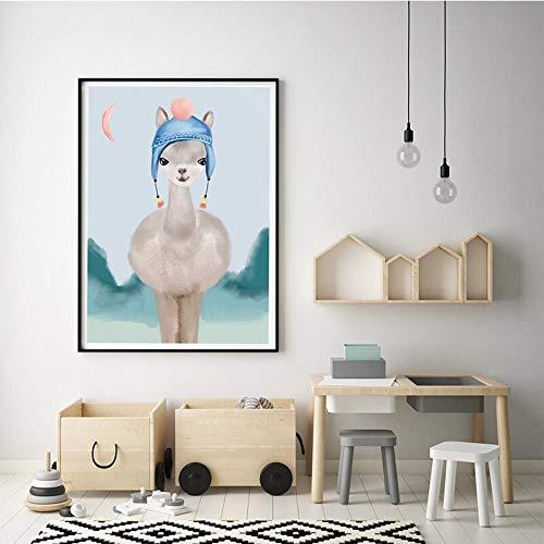 Rainbow Camel Wall Art Alpaca Boho Style Canvas Art Animal Room Decoration,Pintura sin Marco,30X40cm
