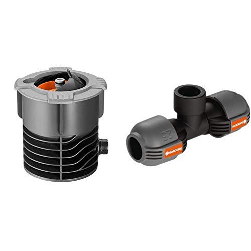 Gardena Pipeline Wassersteckdose: Oberirdische Wasserentnahmestelle,¾ Zoll Außengewinde & Sprinklersystem T-Stück mit Gewinde: Verbindungsstück für Entwässerungsventil, 25 mm x 3/4 Zoll- Innengewinde
