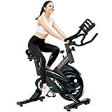L NOW Indoor Exercise Bike Stationary, Belt Drive Indoor Cycling Bike for Home Office Cardio Workout Bike Training Max 350Ibs With Wire to Connect Phone (E6)