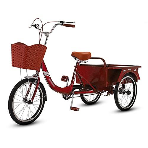 Triciclo para adultos bicicleta Triciclos Adultos 3 Rueda 20in Tres Ruedas Crucero Bicicleta 3 Estilos Adulto Bicicleta Ajustable Bicicletas De Tres Ruedas Para Personas Mayores, Mujeres(Color:Rojo-A)
