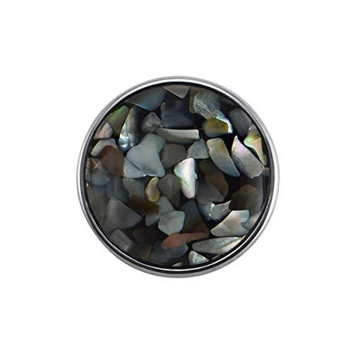 Preisvergleich Produktbild Quiges Damen Click Button 18mm Chunk Graue Muster Versilbert für Druckknopf Zubehör