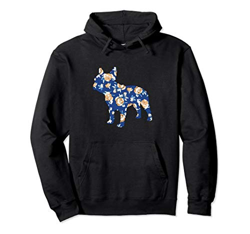 French Bulldog Vintage Floral Roses Graphic Hoodie Frenchie