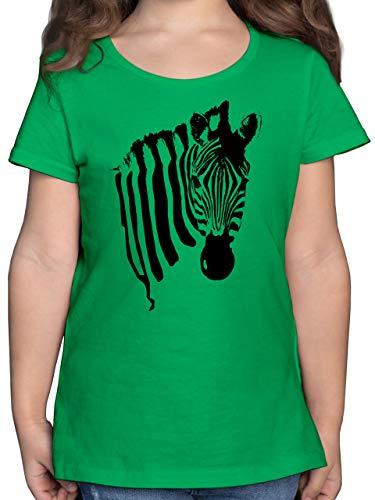 Tiermotive Kind - Zebra - 128 (7/8 Jahre) - Grün - Kind Shirt Tier - F131K - Mädchen Kinder T-Shirt