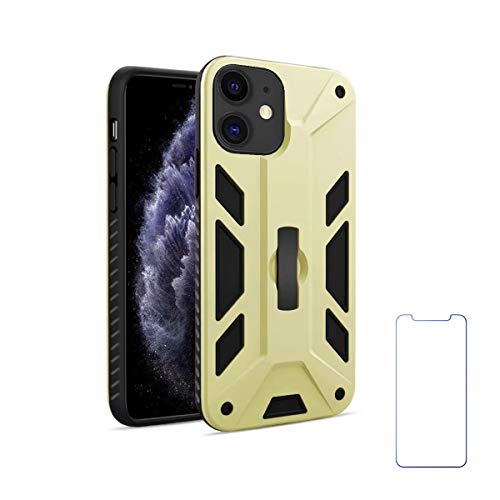 Oddss Gold Case for iPhone 11 with Strap Grip Kickstand Dual Layer Silicone Impact Resistant Hybrid Heavy Armor with Bracket Bumper Cover Case for iPhone 11 6.1 inch with Screen Protector