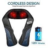 MaxKare Cordless Rechargeable Back Neck Massager Shoulder Shiatsu Massage with 3D Massage Nodes Bidirectional Rotation and Optional Heat Relieve Muscle Pain for Neck Shoulder Leg Waist Massager