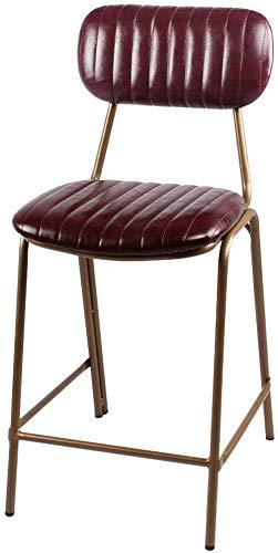 QTQZDD PU lederen eetkamerstoelen ijzeren vintage industriële stijl huishoudenkruk zachte rugleuning & kussen stoel barkruk barstoel (zithoogte: 63 cm) 2 2