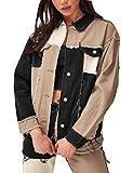 Women Patch Color Block Trucker Denim Jacket Raw Hem Boyfriend Jean Jacket Coat (Black&Khaki, Large)