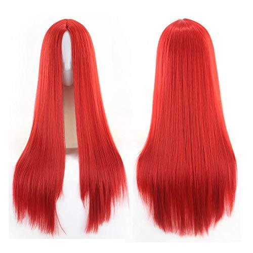 Peluca peluca peluca europea y americana flequillo cortina de pelo pelo largo y liso Peluca coloreada europea y americana , Vino tinto