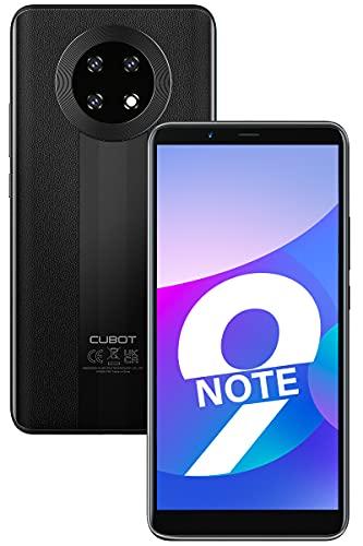 CUBOT Note 9 Smartphone ohne Vertrag, 4G Android 11 Handy, 5.99 Zoll HD Display, 5900mAh Akku, DREI Kameras, 3GB+32GB, 128GB erweitbar, Dual SIM, Face ID, Schwarz