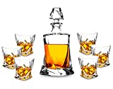 7-Piece Whiskey Decanter Set, KANARS Premium Lead Free Crystal Liquor Decanter with 6