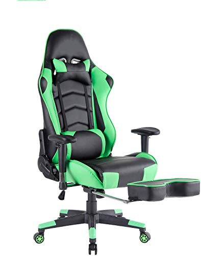 Kcream Gaming Chair with Adjustable Lumbar Support and Retractable Footrest Video Game Chair Heavy Duty Ergonomic Computer Office Desk Chair chairs Computer Dining Features gaming Kitchen