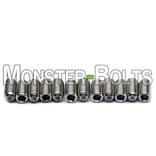 Guitar Saddle Bridge Height Adjustment Hex Screws set (12) for US/Inch and Metric - MonsterBolts (Metric - M3 x 6mm, Stainless Steel)