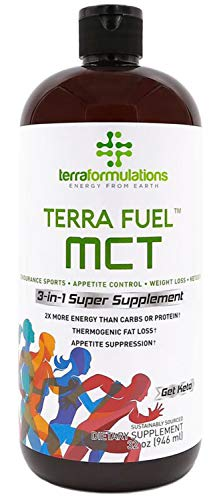 Terra Fuel MCT Oil, 70% C8 Caprylic Acid, 2X More Efficient, Best Value Amazon, 3-in-1 Ketogenic Supplement, Proven for Endurance Sports, Appetite Control, Weight Loss, 30% C10 capric 32 oz