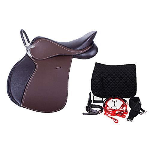 GCSEY Elegante Caballo De Silla, Horse Saddle Leather, Silla De Montar Integrada Británica Silla De Montar Turística Silla De Montar Integrada Silla De Enseñanza, 17.5 Pulgadas,Marrón