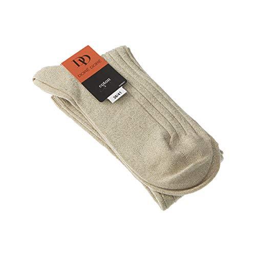 Socke Hoch - 1 paar - verstärkte Ferse - Verstarkte zehen - Flachnaht - ohne Frotte - Gerippte - Fine - Coton - Beige - DD - 36/41