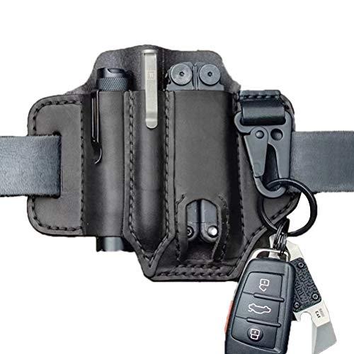 Linoni Taktischer Multitool-Halter aus Leder, EDC, Gürtelschlaufe mit Schlüsselhalter für Taschenlampe, Werkzeuge, Outdoor, Camping