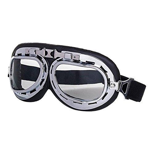 Blue Banana Steampunk Bike Style Goggles (Chrome) - None