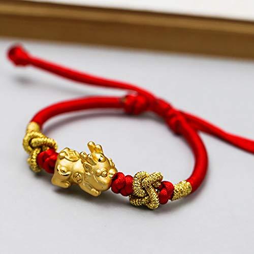 Deykhang Feng Shui Pixiu/Pi Yao Brazalet 999 Pure Silver Baby Pixiu Engrosado 18k-Oro Plateado Rojo Riqueza Pulsera Amuleto para la Prosperidad curación talismán atrae Dinero Buena Suerte éxito éxito