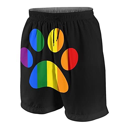 LGBT Paw Pride Boys Swim Trunks Quick Dry Girl Swimwear Elastic Beach Pants White