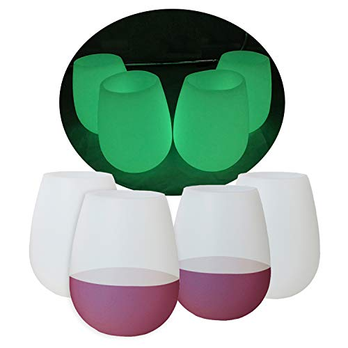 kindga caucho de silicona Copas de vino, 13oz- mejor sin tallo irrompible vasos