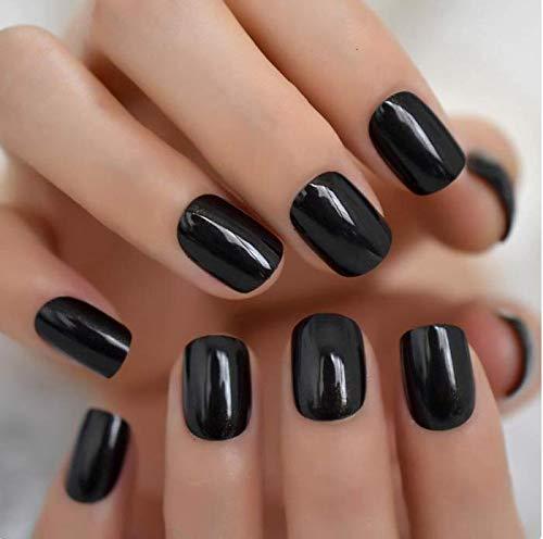 Yalice Square Fake Nails Glossy Short Press on Nails Acrylic Full Cover Wedding False Nails for Women and Girls 24Pcs (Black)