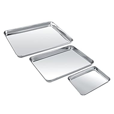 Baking Sheets 3 Pieces, Zacfton Cookie Sheet Set of 3 Stainless Steel Toaster Oven Tray Pan Rectangle Size Non Toxic & Healthy,Superior Mirror Finish & Easy Clean, Dishwasher Safe