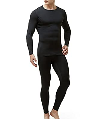 TSLA CLSL Blank Men's Thermal Microfiber Soft Fleece Long Johns Top & Bottom Set, Thermal Fleece(mhs100) - Black, Large