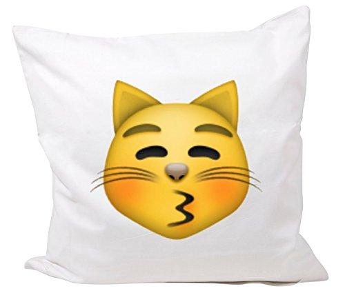 Druckerlebnis24 Funda de Almohada 40x40 besar la Cara del Gato con los Ojos Cerrados Hechos de Microfibra, Smiley, Emoji, Cojines, Decorativo, Malla, Almohadilla del Cuello, iPhone, emoticonos.