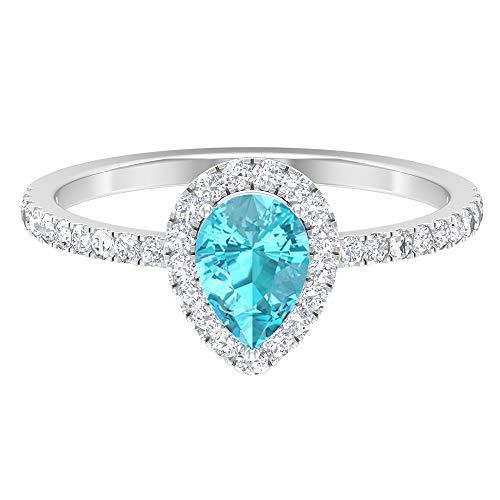 Anillo azul ártico de 1,55 CT creado en laboratorio, D-VSSI Moissanite Halo Anillo, anillo de compromiso de corte de pera de 6 x 8 mm, 14K White Gold, Lab Created Arctic Blue Sapphire, Size:US 70