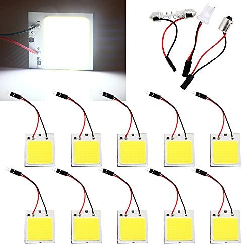 Qasim COB 48-SMD LED Panel Lámpara de techo de coche, lectura interior, luz de placa, techo de techo, lámpara de mapa con adaptadores BA9S T10 Festoon (Pack de 10)