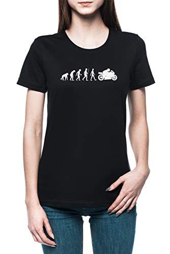 Evolución De Moto Mujer Camiseta tee Negro Women's Black T-Shirt