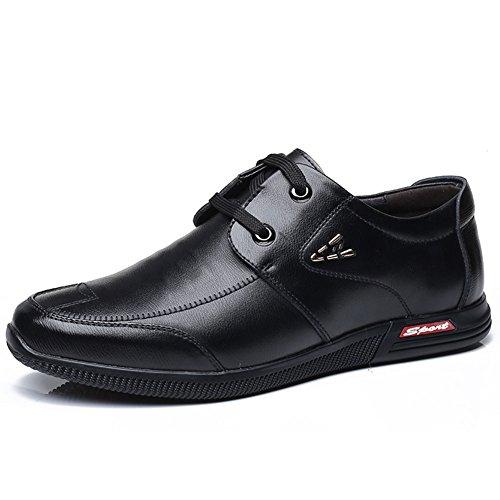 QIDI-Men's shoes Qidi Décontracté Chaussures Commerce Soirée Chaussures en Cuir Angleterre Respirant Chaussures pour Homme EU39/UK6 Noir
