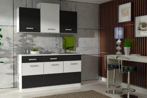 Küche Fabienne 150 cm Küchenzeile in schwarz/weiß - Küchenblock variabel stellbar