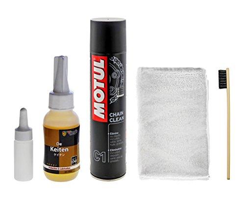 高性能自転車用チェーンオイル ケイテン/keiten + MOTUL(モチュール)CHAIN CLEAN(チェーンクリーン)400ml正規輸入品 ブラシ1本+ウエス1枚セット