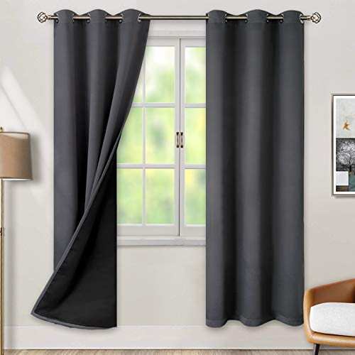 BGment Thermal Insulated 100% Blackout Curtains for Bedroom with Black Liner, Double Layer Full Room Darkening Noise Reducing Grommet Curtain ( 42 x 84 Inch, Dark Grey, 2 Panels )