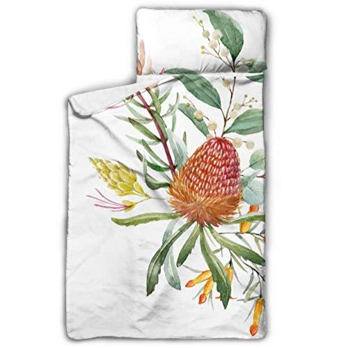 Australische Orange Blumen Banksias Nickerchen Schlafsäcke für Kinder Schlafsäcke für Kinder mit Decke und Kissen Rollup Design ideal für Vorschulkindergarten Sleepovers 50