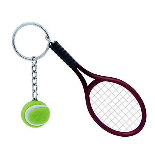 TOYMYTOY Llavero de Tenis, Novedad Rojo Pelota de Tenis Colgante, Linda Raqueta de Tenis decoración