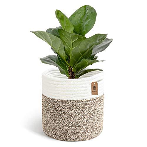 Goodpick Woven Cotton Rope Plant Basket for 20CM Flower Pot Floor Indoor Planters, 21CM x 21CM Storage Basket Organizer Modern Home Décor, Baby Toy Storage