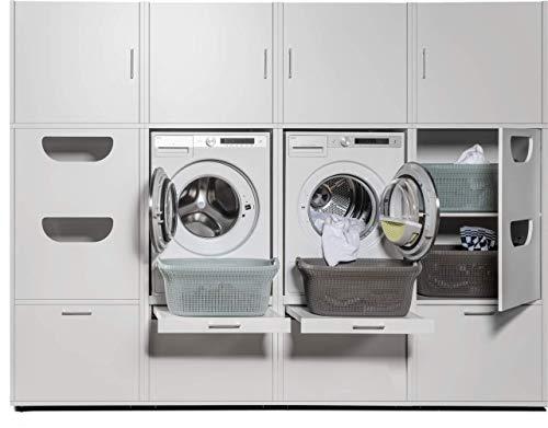 Schrankwand Hauswirtschaftsraum - Der Waschturm - 207 x 268 x 65 cm - Weiß - TÜV zertifiziert - Stabil auch bei Vibrationen