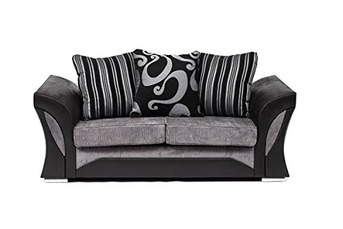 FARROW Chenille Fabric Corner Sofa, 2+3 Seater, Swivel Chair in Black & Grey (2 Seater)