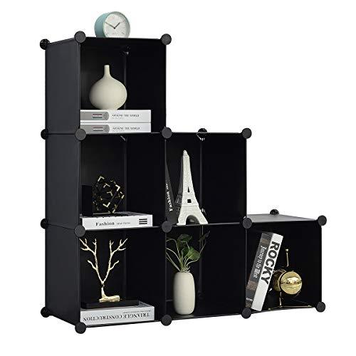 BRIAN & DANY Estanteria Modular de 6 Cubos, Separadores Ambientes Estanteria para Juguetes, Ropa y Libros, 93 x 93 x 31 cm, Negro