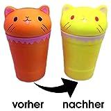 Squishie Farbwechselnde Milchshake Katze Süß Kinder Spielzeug Antistress Squishy Color Change Milk Shake Cat Kawaii Soft (13,5*8,5cm)