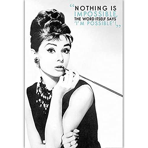 Czarno-biała sztuka fotograficzna Audrey Hepburn obraz na płótnie Nordic plakaty drukuj Salon Home Decor C23 50 × 70 CM bez ramki