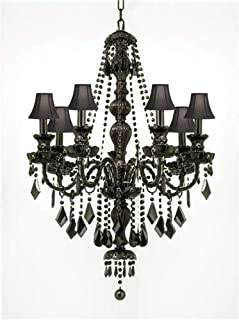 NEW! JET BLACK GOTHIC CRYSTAL CHANDELIER LIGHTING WITH BLACK SHADES!H37