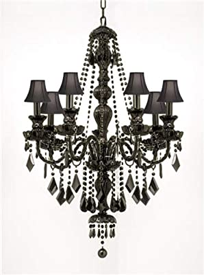 black chandelier lighting black metal jet black gothic crystal chandelier lighting with shades new h37 w26