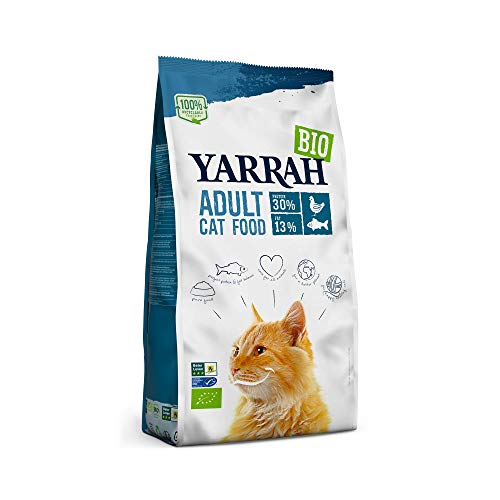 Yarrah cibo secco biologico per gatti adulti | Prima qualità e alto contenuto di nutrienti con pesce e pollo, 2,4Kg | 100% biologico e privo di additivi artificiali