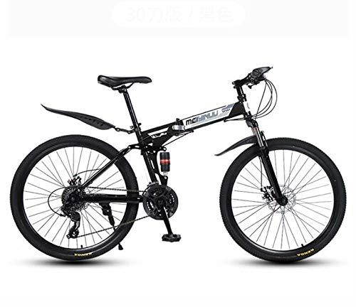 GASLIKE Bicicletta Pieghevole per Mountain Bike per Uomo e Donna, Telaio a Doppia Sospensione in Acciaio al Carbonio, Pedali in PVC e impugnature in Gomma,Nero,26 inch 21 Speed